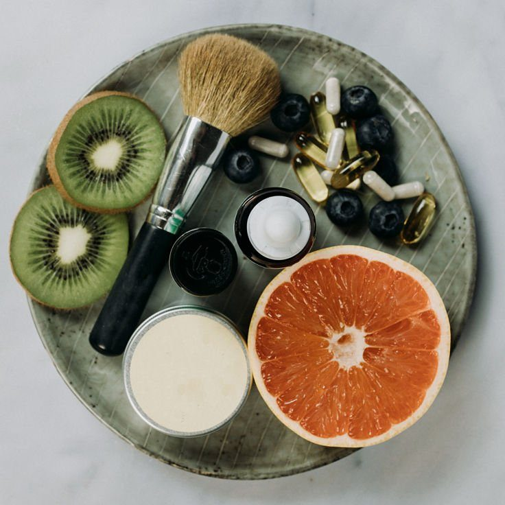 Fruit and cosmetic platter for Happy Skin From Within